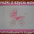 Obrazki z szycia wzięte - na podstawie wzoru ze stitchingcards.com #fantagiro7 #HaftMatematyczny #ObrazkiZSzyciaWzięte #narodziny #dziewczynka